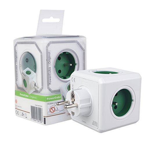 Allocacoc Powercube Multipresa Ciabatta Elettrica Europa 5 Porte 2100/FRORPC Schuko Modulare Salva Spazio 16A/230V Con protezione ABS Colore Verde