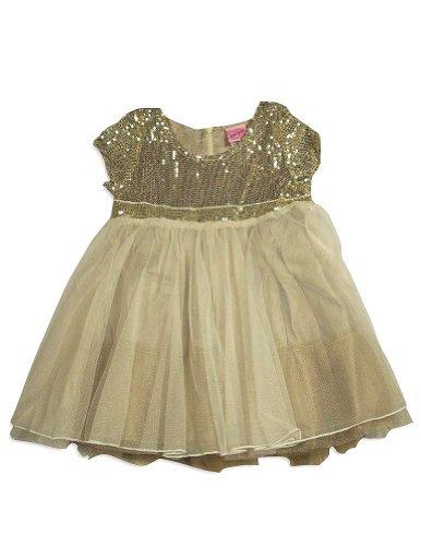 Lipstik - Little Girls Short Sleeve Sequin Dress, Ivory, Gold 29465-3T front-331782