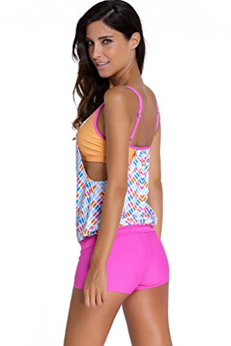 Evaless womens shoulder straps tankini top with built in for Swim shirt with built in bra