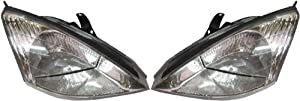 Discount Starter and Alternator FO2503171 FO2502171 Ford Focus Replacement Headlight Pair Plastic Lens With Bulbs