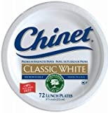 "Chinet Classic White Lunch Plate, 8 3/4""-72 ct"