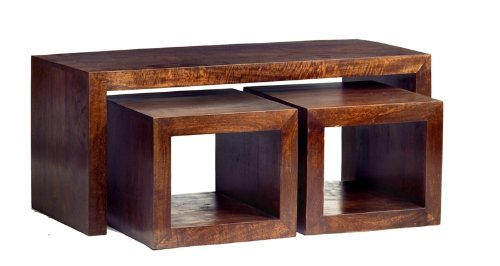 ML07a Ajak Mango Range - Mango Dark Wood Long John Cubed Nest Of 3 Coffee Tables - Deep Walnut - Solid Indian Hardwood - No Assembly Required