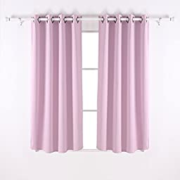 Deconovo Thermal Insulated Blackout Curtain 52 inch W X 63 inch L, Lavender,Two Panels