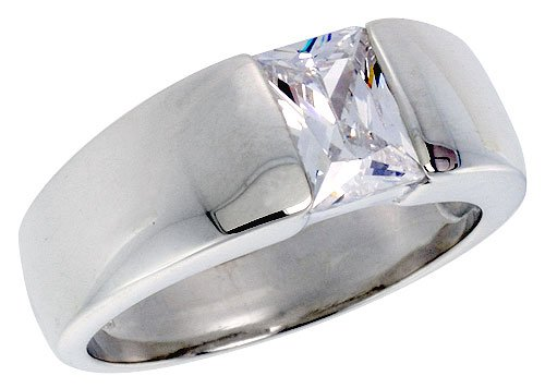 Sterling Silver 1.5 Carat Size Emerald Cut Cubic Zirconia Men's Solitaire Ring (Available in Sizes 8 to 13) size 13