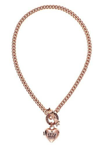 Juicy Couture Jewelry Rose Gold Crown Heart Locket Charm Necklace