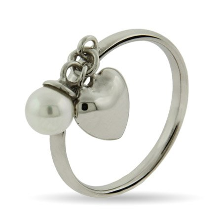 Stackable Reflections Pearl with Dangle Heart Stackable Ring Size 9 (Sizes 4 5 9 Available)