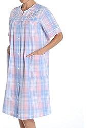 Miss Elaine Seersucker Plaid Short Snap Front Robe (854665)