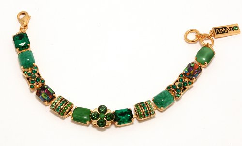 Radiant 24K Yellow Gold Plated Bracelet from 'Deep Forest' Collection by Amaro Jewelry Studio, Embellished with Amazonite, Jade, Moss Agate and Swarovski Crystals