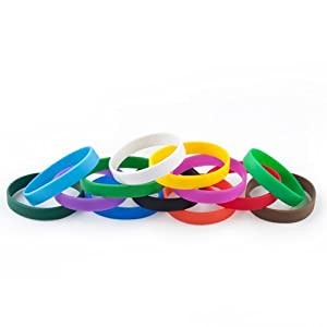 GOGO? Adult's Blank Silicone Wristbands, Silicone Bracelets - Soft to touch, comfortable to wear, yet durable and long lasting.