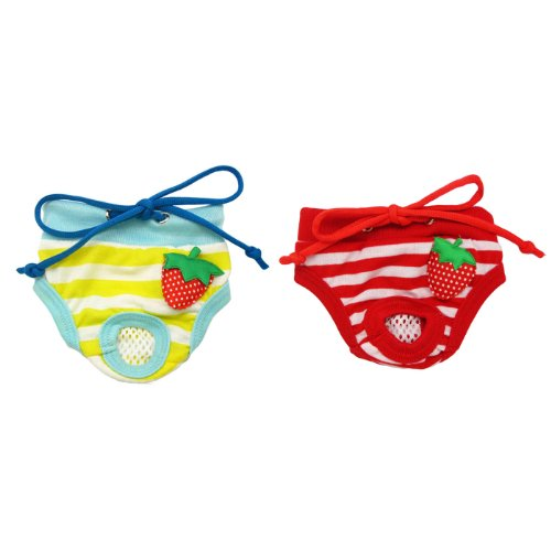 Alfie Pet Apparel - Torri Diaper Dog Sanitary Pantie 2-Piece Set - Colors: Yellow and Red, Size: S (for Girl Dogs)