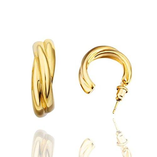 18K Gold Plated Earrings, Women's Stud Earrings Half Hoop Huggie Ring Epinki