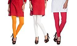 Rupa Softline Yellow and White and Red Cotton Leggings Combo (Pack Of 3)