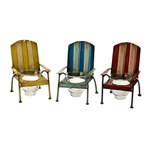 """Set of 3 Decorative Striped Metal Beach Chair Votive Candle Holders 7.75"""""""