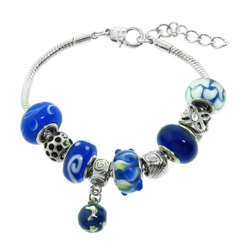 Blue Murano Style Glass Beads and Charm Bracelet, 7.5