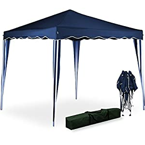 Tente pliante 3x3 m tonnelle pavillon jardin pliable bleu - Tonnelle de jardin pliable ...