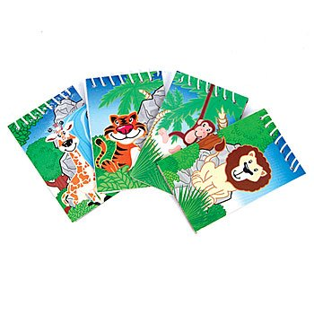One Dozen (12) Zoo Animal Jungle Safari Theme Notepads