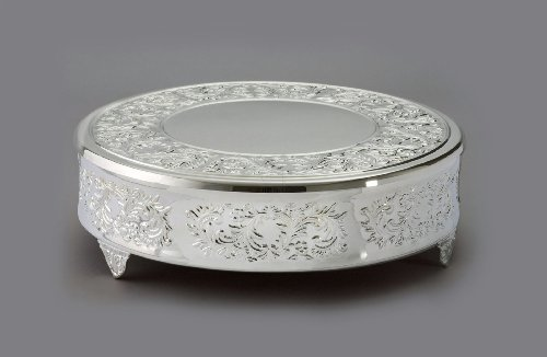 14″ Round Baroque Cake Plateau, Nickel Plated