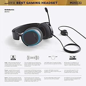 SteelSeries Arctis 5 - Gaming Headset - RGB Illumination - DTS Headphone:X v2.0 Surround for PC and PlayStation 4 - Black [2019 Edition] (Color: Black, Tamaño: Arctis 5)
