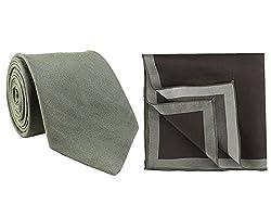 Chokore Dark Grey Silk Tie & Shades of Grey Silk Pocket Square set