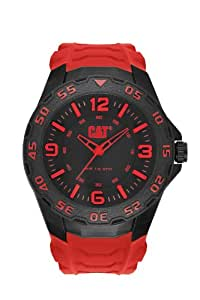 Cat Men's Quartz Watch with Black Dial Analogue Display and Red Rubber Strap LB.111.28.138