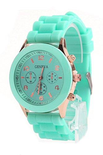 Daisy*Vzu Brand New Unisex Silicone Jelly Golden Quartz Wrist Watch Mint Green