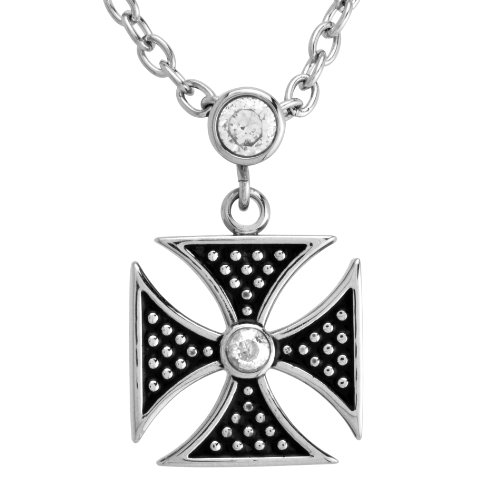 Stainless Steel Crystal Clear Maltese Cross Pendant Necklace , 18+3