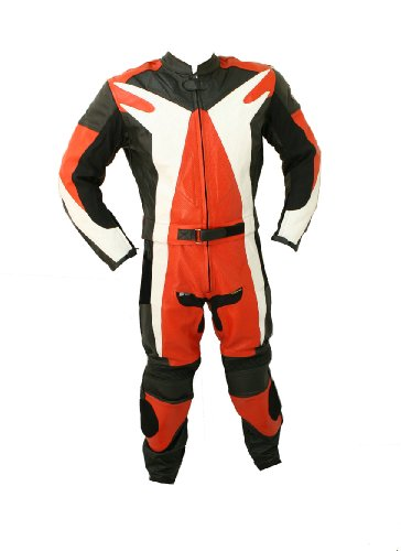 2pc Motorcycle Riding Racing Leather Suit w/ Hard Padding & Armor New Track Suit -Large