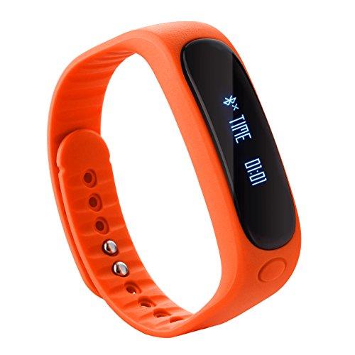 Tera E02 Smart Bracelet Bluetooth Sport Tracker d'activité étanche podomètre calories sommeil surveillance pour smartphone iphone samsung etc (orange)