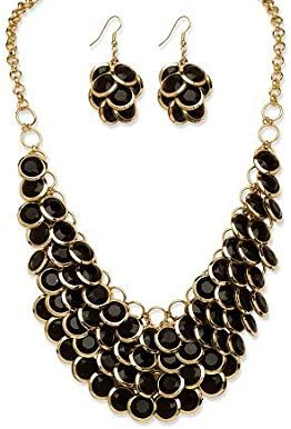 PalmBeach Bib Necklace and Cluster Earrings Set