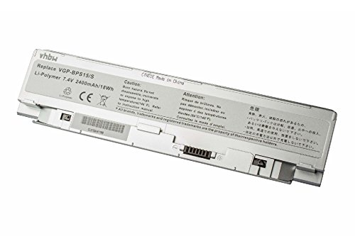 vhbw Li-Polymer Batterie 2400mAh (7.4V) argent pour ordinateur portable, Notebook Sony VAIO VGN-P23G/R, VGN-P23G/W, VGN-P25G/G comme VGP-BPS15/S.