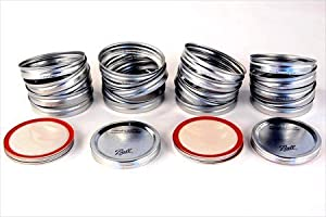 Ball Canning Jar Lids - Set of 20 - Rubber Lined Lids & Bands - Fits Most Wide Mouth Ball / Kerr / Mason Jars