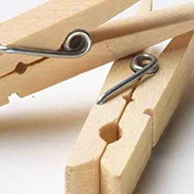 Clothes Pins Traditional Wood w/ Spring 100-Pack Wooden Clothespins (40700) by Whitney Design