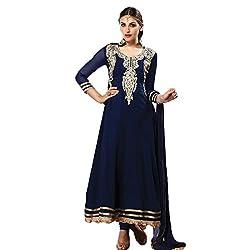 Rozdeal Women Chiffon Salwar Suit Dress Material (Rdhp112-1009 _Blue _Free Size)