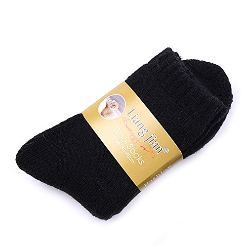 FOXDE TECH Thicken Thermal Wool Cashmere Warm Socks For Casual Sports Winter Hiking (Black)