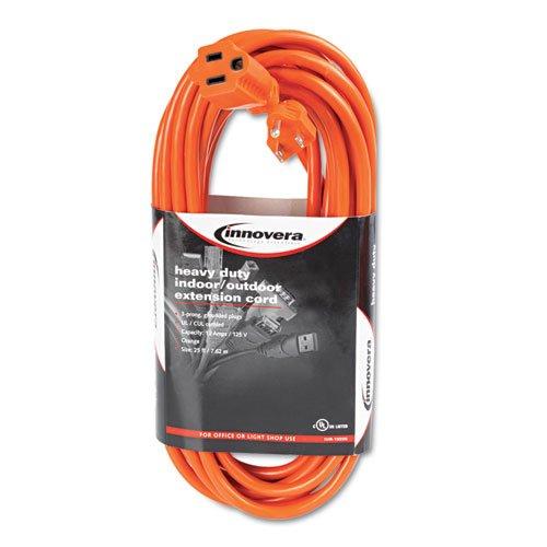 Innovera 72225 Indoor/Outdoor Extension Cord, 25 Feet, Orange