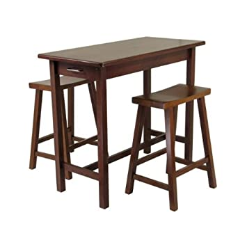 Winsome Wood 3 Piece Kitchen Island Table With 2 Drawers And Saddle Stools In Antique Walnut Finish