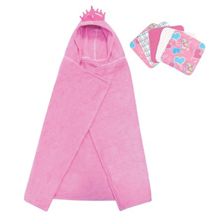 Best Seller Princess Character Hooded Towel And 5 Piece Wash Cloth Set By Kitty4U front-245540