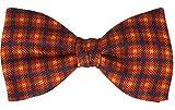 Fort & Stone Fine Silk Pre-Tied Bow Tie - Debonair Check on Sunburst Red