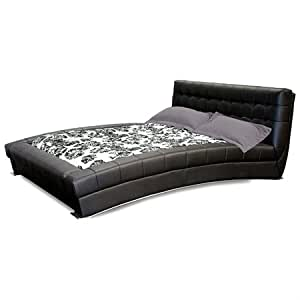 Amazoncom bel aire curved platform bed tufted black for Curved sectional sofa amazon