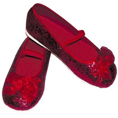Girls sparkly red ruby slippers, dorothy wizard of oz shoes UK kids size 9-10