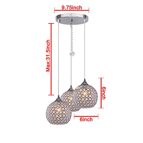DINGGUTM 3 Lights Modern Crystal Ball Pendant Light Fixture
