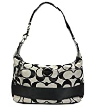 Coach Signature Stripe Shoulder Hobo Bag Purse 17434 Black White