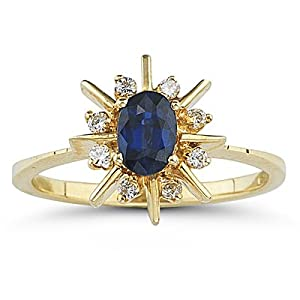0.08 Cts Diamond & 0.60 Cts Blue Sapphire Ring in 14K Yellow Gold-6.5