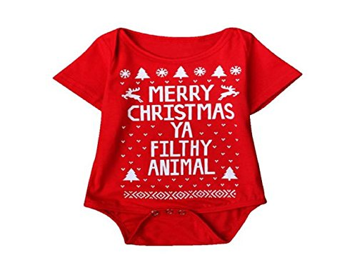 Christmas Baby Boys Girls Printed Christmas Romper Bodysuit Jumpsuit - SUPPION (18M, Red)
