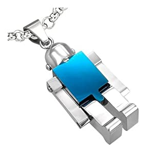 Polished Shiny Stainless Steel Blue Robot Toy Pendant Necklace - Blue/silver