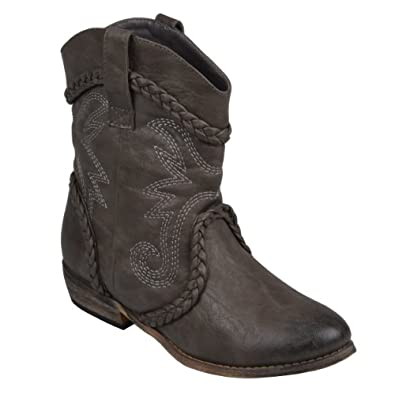 Brinley Co. Womens Topstitched Distressed Cowboy Ankle Boots