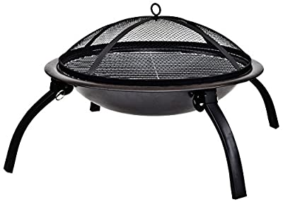La Hacienda 58106 Camping Firebowl with Grill/ Folding Legs and Carry Bag - Black