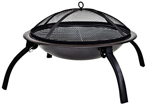 La Hacienda 58106 Camping Firebowl with Grill, Folding Legs and Carry Bag – Black