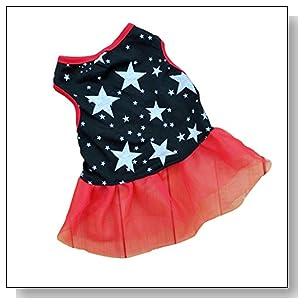 Summer Apparel Puppy Dog puppy pet dog star print dress cute tutu princess gauze dress clothes apparel