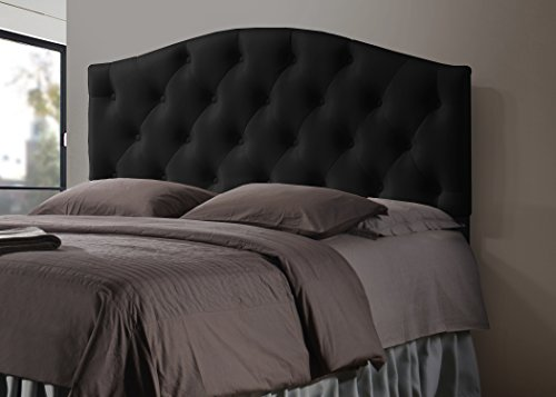 Wholesale Interiors Baxton Studio Myra Modern and Contemporary Faux Leather Upholstered Button-Tufted Scalloped Headboard, Full, Black (Full Black Bed Frame compare prices)